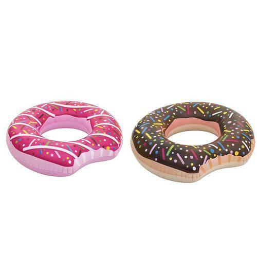 2 Boias Rosquinha Mordida Donuts Boia para Piscina Divertida Colorida Inflável