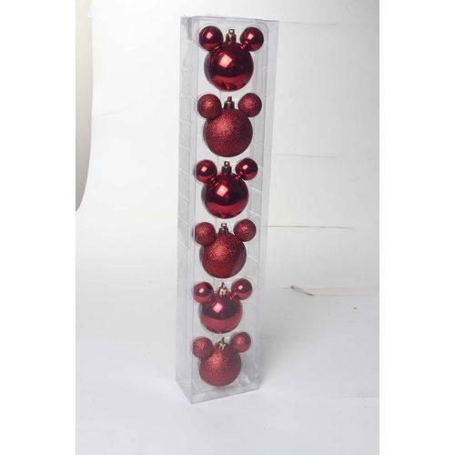 Bola Árvore Natal Disney 6cm C/ 6 Pçs Vermelha