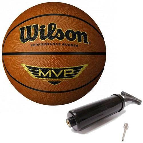 Bola de Basquete Mvp Café N°7 + Bomba de Ar Wilson