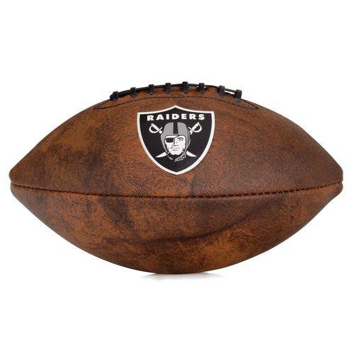 Bola de Futebol Americano Wilson Nfl Jr Throwback Team Logo Oakland Raiders Marrom