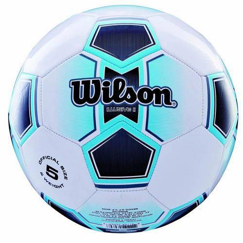 Bola de Futebol de Campo Illusive N.5 Microfibra de Pu e PVC Azul Wilson