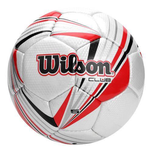Bola de Futebol Wilson Club Tamanho 5 - Branca com Vermelha-Branco / Vermelho-SP
