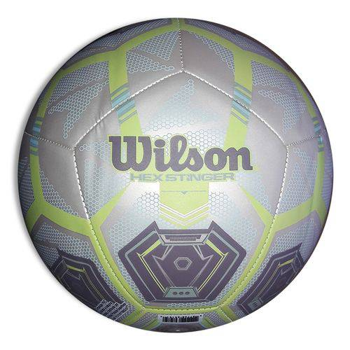 Bola de Futebol Wilson Hex Stinger Tamanho 5 - Branca com Verde-Branco / Verde-SP