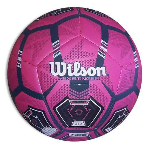 Bola de Futebol Wilson Hex Stinger Tamanho 5 - Rosa com Preta-Rosa / Preto-SP