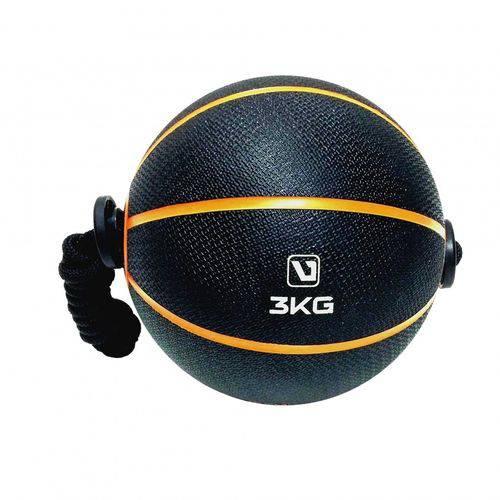 Bola de Peso Medicine Ball com Corda 3Kg LS3006E/3 Liveup - Preto/laranja