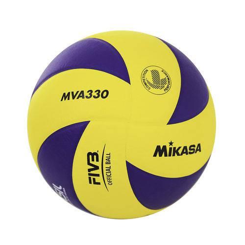 Bola de Vôlei em Courino MVA330 Amarelo/Azul Mikasa