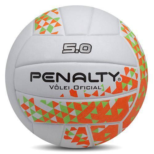 Bola de Volei Oficial 5.0 - Penalty Branca/Verde/Laranja