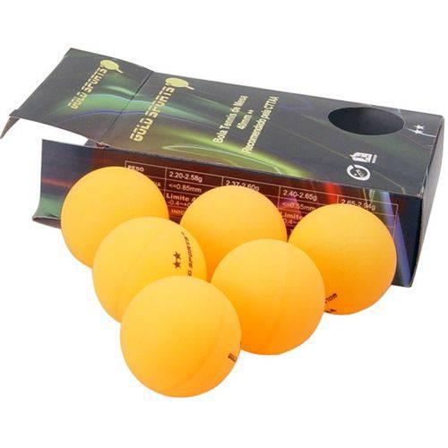 Bola Tênis de Mesa Gold Sports 2 Estrelas com 6 Unidades