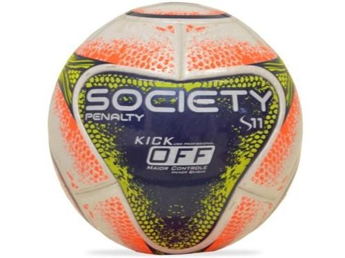 Bola Penalty Futebol Society S11 R1 KO VIII Branco Azul Laranja