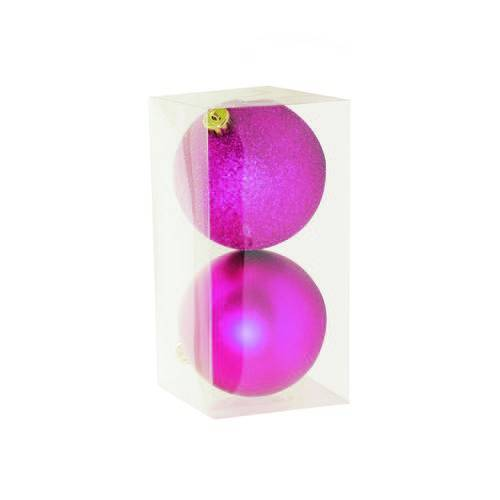 Bolas Arvore de Natal em Tubo Pink - 2 Unidades 10 Cm