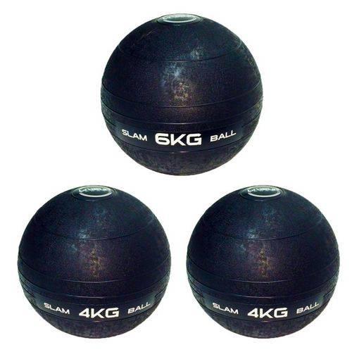 3 Bolas Medicine Slam Ball 6 Kg e 4 Kg para Crossfit - Liveup