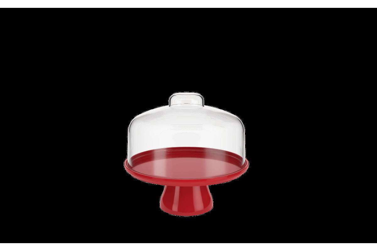 Boleira Cake com Cúpula 19,5 Cm 19,5 X 19,5 X 18 Cm Vermelho Bold Coza