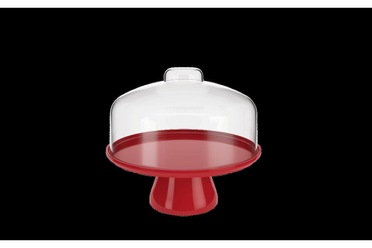 Boleira Cake com Cúpula 25 Cm 25 X 25 X 22 Cm Vermelho Bold Coza