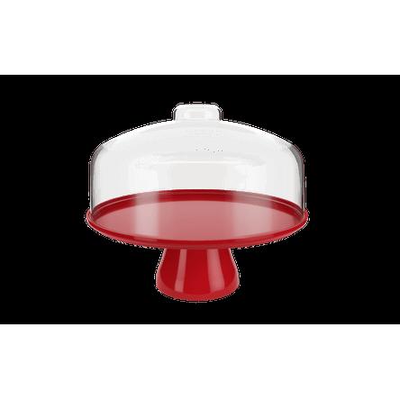 Boleira Cake com Cúpula 32,5 Cm 32 X 32 X 26,7cm Vermelho Bold Coza