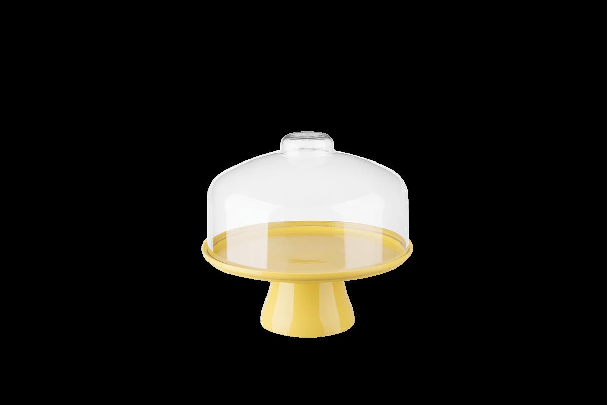 Boleira Cake com Cúpula Ø19,5 Cm 19,5 X 19,5 X 18 Cm Amarelo Coza