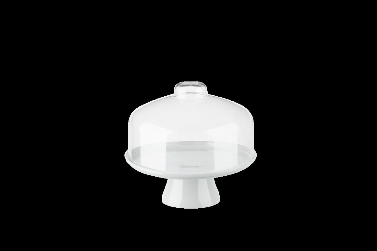 Boleira Cake com Cúpula Ø19,5 Cm 19,5 X 19,5 X 18 Cm Branco Coza