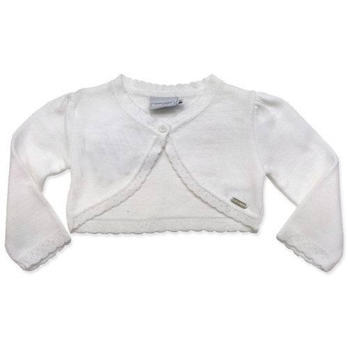 Bolero Infantil Feminino Branco de Tricot - Noruega Baby