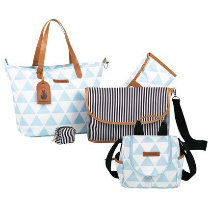 Bolsa 4 em 1 Sofia + Frasqueira Térmica Emy Manhattan Azul - Masterbag