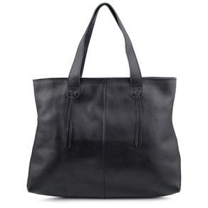 Bolsa Bags Simples Couro Zíper Preto - Preto/un