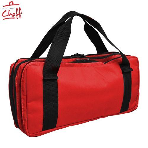 Bolsa Cordura Nylon Vermelha com Alça 16 Compartimentos para Facas e Utensílios - Professional Cheff