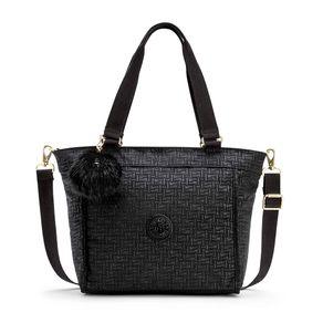 Bolsa de Ombro Pequena New Shopper S Preta Black Pylon Emb Kipling