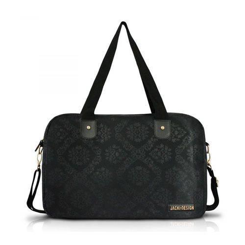 Bolsa de Viagem/Academia Damasco Preto Microfibra Estampada Jacki Design