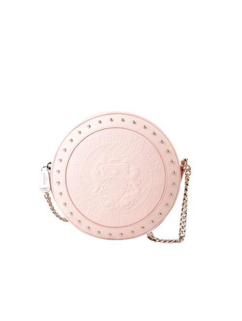 Bolsa Disco Calfskin de Couro Rosa