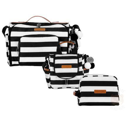 Bolsa 2 em 1 Julie + Frasqueira Térmica Emy + Necessaire para Bebe Brooklyn Black And White - Masterbag