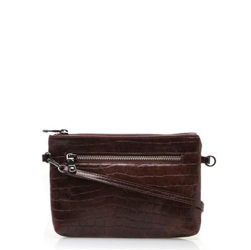 Bolsa Feminina Mini Bag New - Couro Croco Conhaque UN