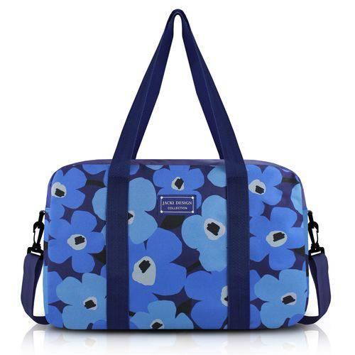 Bolsa Mala de Viagem Academia com Alça Ajustável Estampada Flores Jacki Design Azul