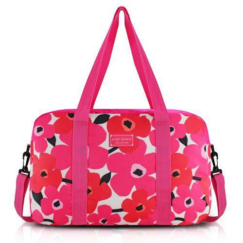 Bolsa Mala de Viagem Academia com Alça Ajustável Estampada Flores Jacki Design Pink