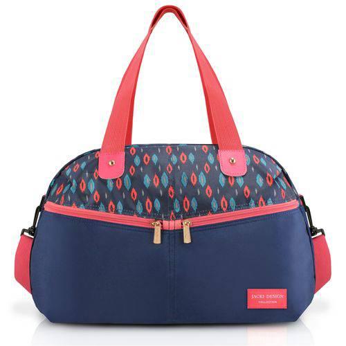 Bolsa Mala para Viagem Academia com Duas Alças Bolsinho com Ziper Jacki Design Azul