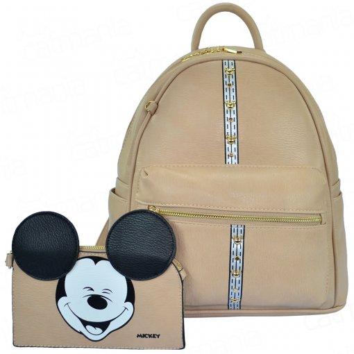 Bolsa Mochila Feminina Disney Mickey Funny com Necessaire