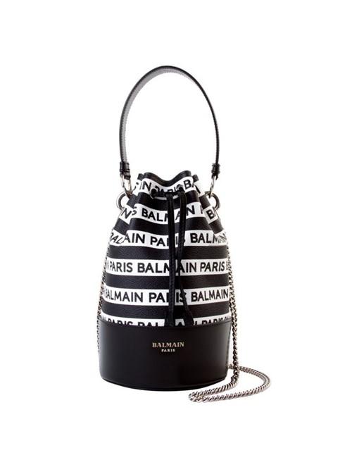 Bolsa Saco Polygon Bucket de Couro Listrada Preta e Branca Bolsa Saco Polygon Bucket de Couro Preta e Branca