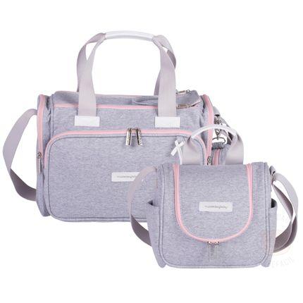 Bolsa Térmica Anne + Frasqueira Térmica para Bebe Emy Moletom Rosa - Masterbag