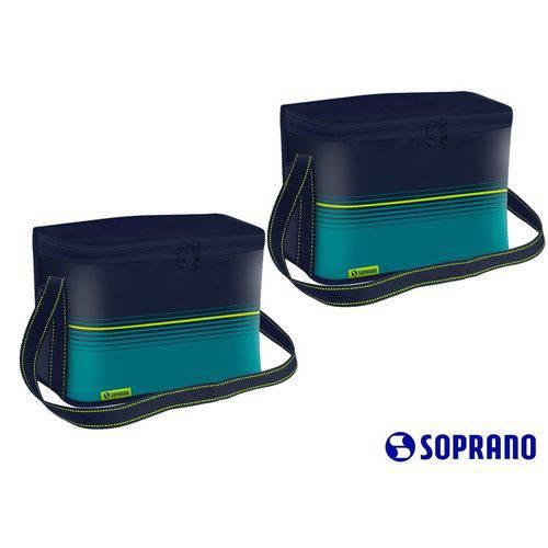 2 Bolsa Térmica Pop 18l Azul Lancheira Soprano