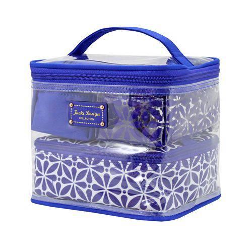 Bolsinha Necessaire Frasqueira 4 em 1 Maquiagem e Acessorios Colection Geométrica Jacki Design Azul
