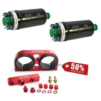 2 Bombas Elétricas de Combustível Externas 9 Bar + Suporte Duplo em Alumínio Billet C/ Flauta 8AN em Alumínio Billet Vermelho (SALBCS01-SALBCS01-SALSBC05)