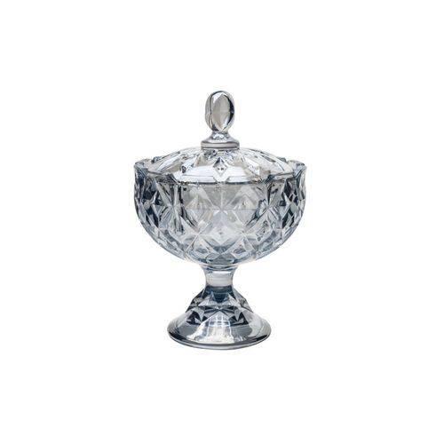 Bomboniere de Cristal C/Tampa Crown Azul 16,5X24Cm