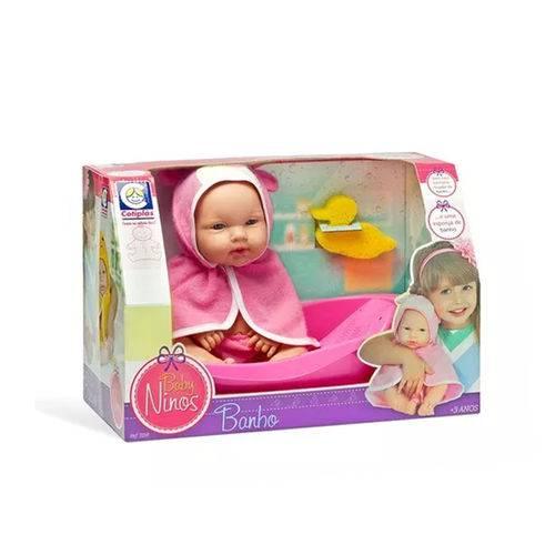 Boneca Baby Ninos Banho com Banheira e Roupão 2158 - Cotiplás