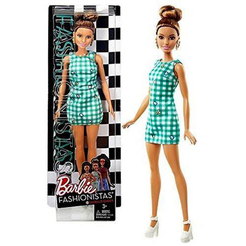 Boneca Barbie Fashionistas 50 Morena Vestido Verde - Mattel