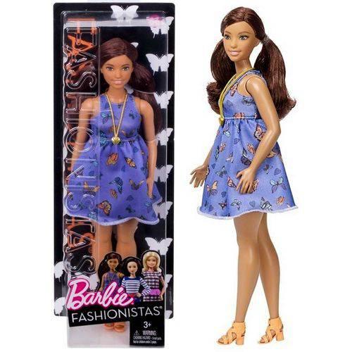 Boneca Barbie Fashionistas Morena Negra Plus Size Beautiful Butterflies Curvy Doll Número 66 - Mattel