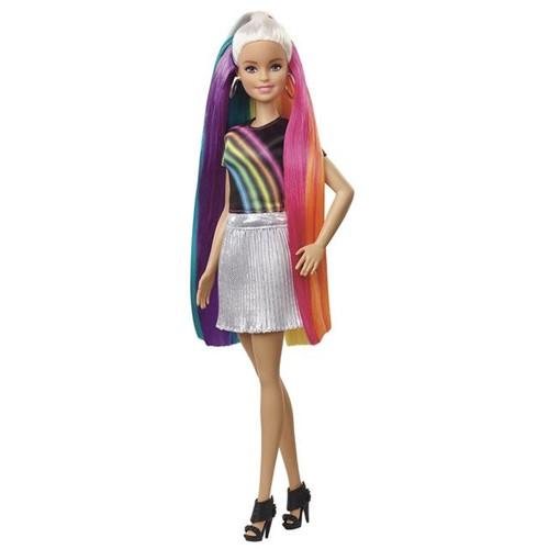 Boneca Barbie Penteados Arco-Íris FXN96 Mattel Colorido