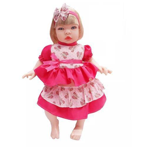 Boneca Bebê Tipo Reborn Realista Loira- Kit Acessórios