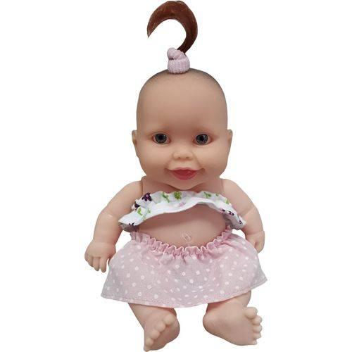 Boneca Cotiplás Coleção Bebê Mini Pedacinho - Top e Saia Branco/rosa