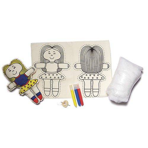 Boneca de Pano para Pintar e Alinhavar - Alegria Sem Bateria