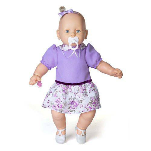 Boneca Meu Bebê Branco Vestido Lilás 60 Cm - Estrela