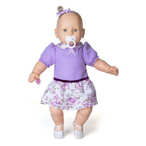 Boneca Meu Bebê Branco - Vestido Lilás - Estrela