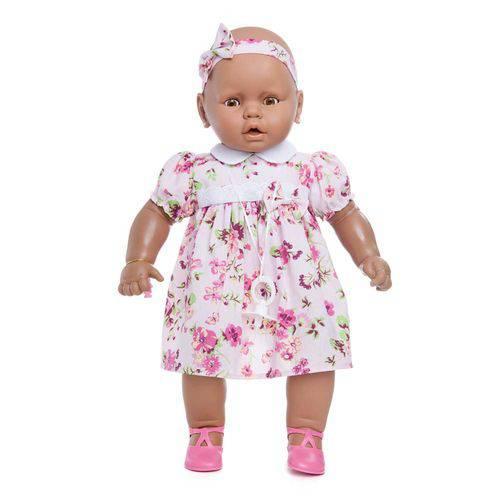Boneca Meu Bebê Negra 60 Cm - Estrela - Vestido Rosa