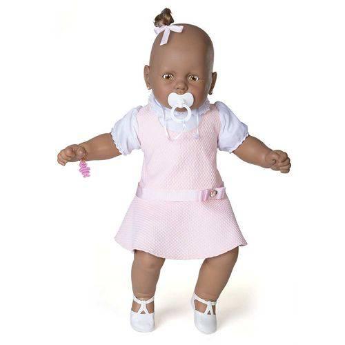 Boneca Meu Bebe Negra Vest Rosa 40cm.